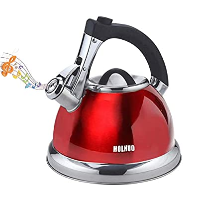 Red Whistling Tea Kettle Premium Large Teapot 3.3 Quart Stainless Steel Water Pot for Preparing Hot Water Fast for Coffee,Tea pots for Stove top Whistle Type all Heat Sources Brushed Tea Kettle