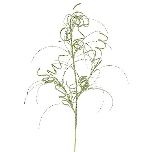 Vickerman QG164513 Glitter Curly Spray with Paper Wrapped Wire Stem in 6/Bag, 35', Lime