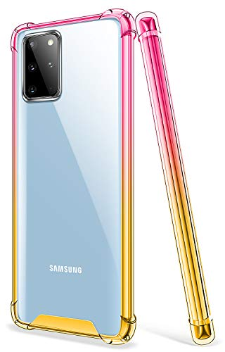 SALAWAT Galaxy S20 Plus Case, Clear Galaxy S20 Plus Case Cute Gradient Slim Phone Case Cover Reinforced TPU Bumper Shockproof Protective Case for Samsung Galaxy S20 Plus 6.7 Inch 2020 (Pink Gold)