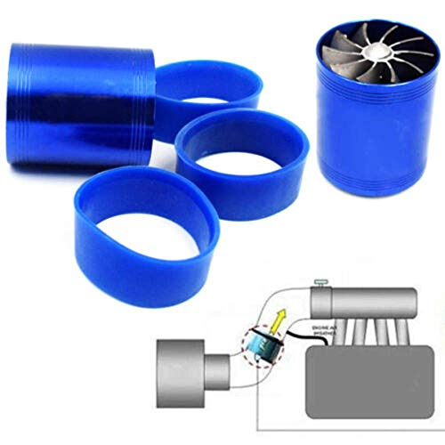 New Double Supercharger Turbine Turbo charger Air Intake Fuel Saver Fan