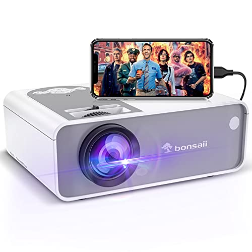 Movie Projector, bonsaii 5500L Home Movie Projector for Indoor Home Theater 1080P and 200'...