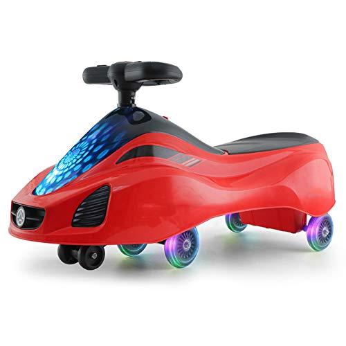 QqHAO Baby Swing Car, Puede Montar un Scooter de Hilado Juguete para niños con Ruedas LED Luminosas, para niños y niñas de 2 a 6 Regalos,Rojo