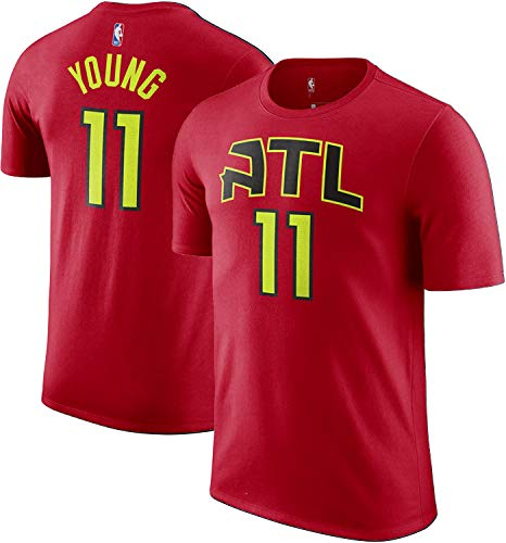 Outerstuff NBA Youth Performance Game Time Team Color Player Name and Number Jersey T-Shirt (Trae Young Atlanta Hawks Red, 10-12)
