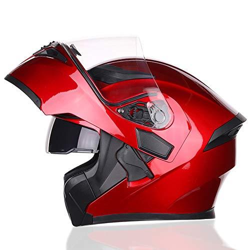 JIAND Modular Helmet mit Anti-Fog-Sonnenblende und Removable Lining DOT Certified Motorrad Klapphelm (57-64Cm) 5 Farben,Rot,XXL_(63~64cm)