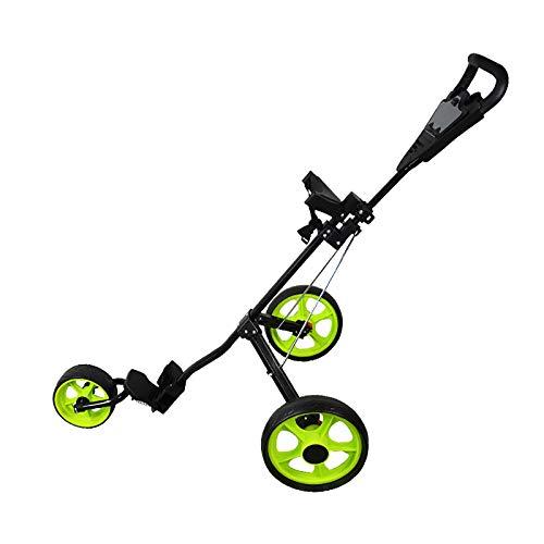 QQLK Golftrolley Faltbar, Unisex, 3 Rad Faltbarer Golf Pull/Push Trolley, Golf Pull Cart FüR Golfsport Im Freien,Grün