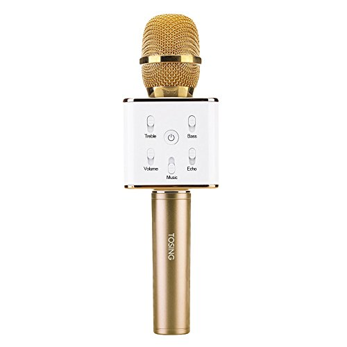 Docooler TOSING Q7 Microfono Karaoke Wireless Altoparlante Bluetooth 2-in-1 Handheld Caning Registrazione Portatile KTV Player per iOS Android Smartphone Tablet PC Champaign Gold