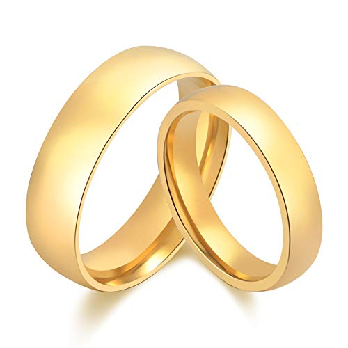 Daesar Edelstahl Damen Ringe Herren Ringe Paar Eheringe Trauringe Hochglanzpoliert Rund Breite 6/4 MM Hochzeitsring Gold Partnerringe Damen Gr.54 (17.2) & Herren Gr.62 (19.7)