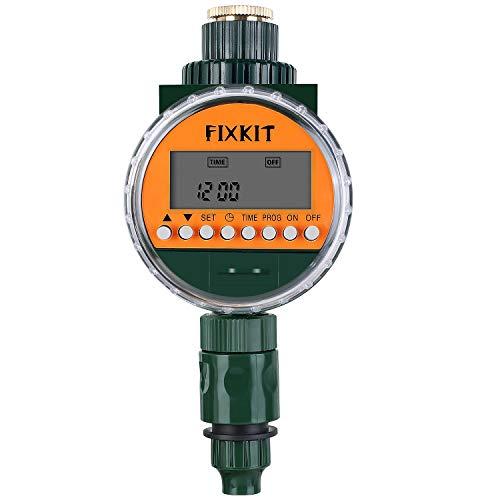 FIXKIT Nuevo Temporizador Digital de Agua con Sensor de Lluvia, Reloj de Riego IP68, Pantalla LCD Resistente al Agua, Programas de Riego de hasta 30 Días, Ideal para Regar Flores y Césped