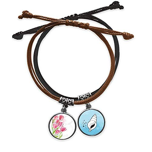 Hand Painted Tulip Flower Plant Illustration Bracelet Rope Hand Chain Leather Conch Wristband