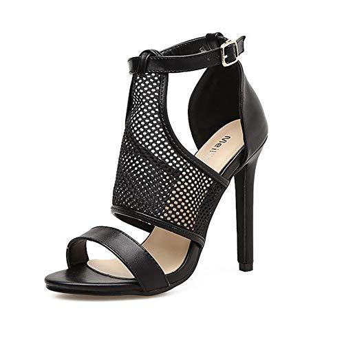 KERVINFENDRIYUN YY4 Sexy sexy hochgeschlossene, hochhackige Sandaletten für Damen (Color : Black, Size : 40)
