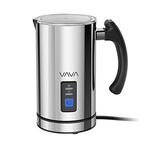 VAVA VA-EB008 Milk Frother, Electric Steamer, Stainless Steel, Foam Maker for Latte, Cappuccino, Hot Chocolate, Strix Temperature Controls, Silent Operation, 250ml