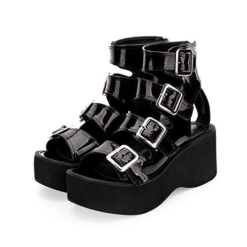 DJDLNK Plus Größe Lolita Schuhe High Heel 7Cm Dicken Boden Muffin Reißverschluss Punk Sandalen