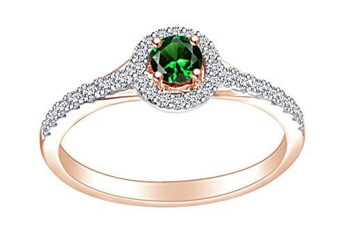 AFFY - Anello di Fidanzamento in Oro Rosa Massiccio 14 ct, con Smeraldo Sintetico e Diamante Naturale Bianco da 1/3 carati, Misura L 1/2