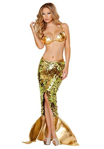 GGTBOUTIQUE Top Totty Sexy - Disfraz de sirena marina dorada Dorado dorado M
