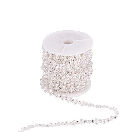 PandaHall Elite 10yards Blume ABS Kunststoff Imitation Perle Ketten Girlandenstränge, handgefertigte Ketten mit Spule, Glasrhinestones, für Hochzeit, Weiß, 9x3mm