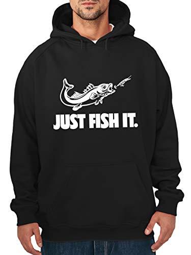 clothinx Herren Kapuzen-Pullover Angler Sprüche Just Fish it Schwarz/Weiß Größe M