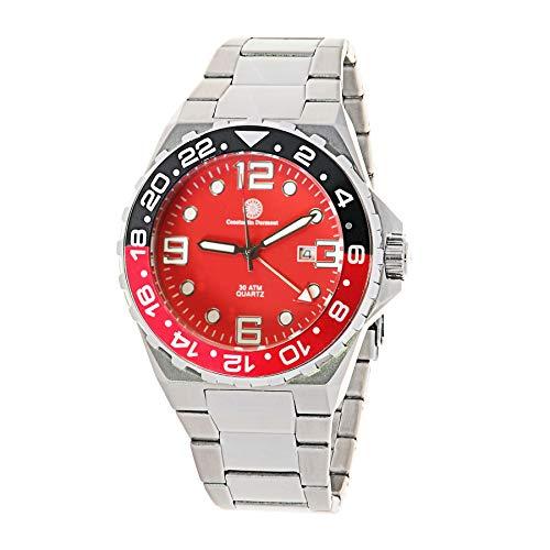 Constantin Durmont Herren Analog Quarz Uhr mit Edelstahl Armband Oceanvault GMT 130767