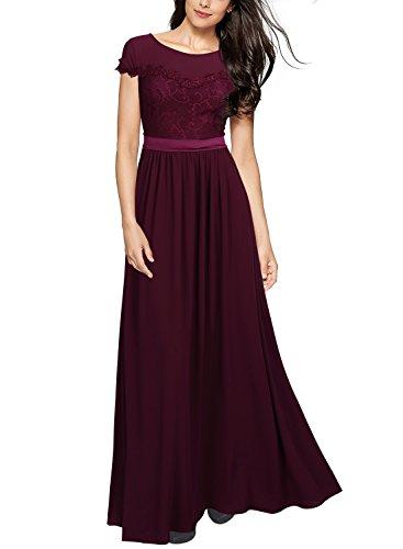 MIUSOL Damen Elegant Spitzenkleider Hochzeit Brautjungfer Chiffon Abendkleider Weinrot XL