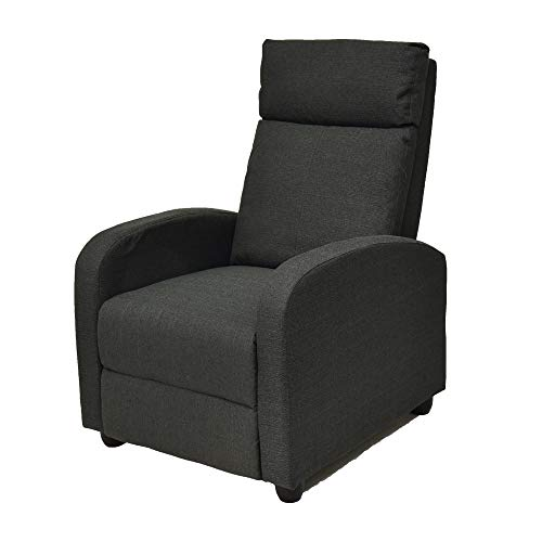Fabric Single Adjustable Sofa Club Recliner Chair Home Theater Seating with Thick Cushion and Backrest - Grey