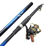 William 337 Caña de Pescar Juego de Carbono Combinación retráctil portátil de 3 M con Equipo de Pesca de Carrete de Pesca