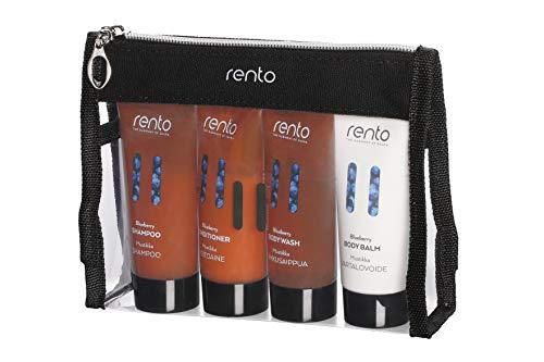 RENTO | Körperpflege Reise Set BLUEBERRY - mit Duschgel, Shampoo, Conditioner und Körperlotion in einer Reisegröße von 50 ml
