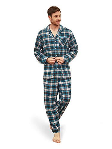 SIORO - Conjunto de Pijama para Hombre, 100% Franela de algodón