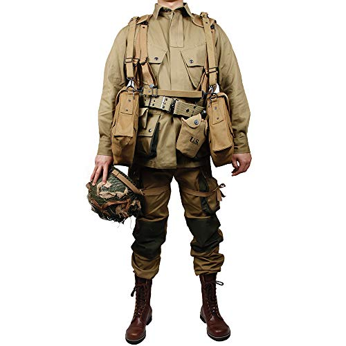 zwjpw WW2 US Army M42 101 Air Force Paratroopers Troops Suits M36 Bag M1c Helmet and 101 Boot Equipment