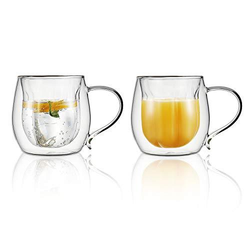 Vevouk Doppelwandige isolierte Glas-Kaffeetassen mit Griff, 230 ml, hitzebeständig, Latte-Glas-Kaffeetasse, 2er-Set für Tee, Kaffee, Latte, Cappuccino, Espresso, kalte Getränke, 230 ml