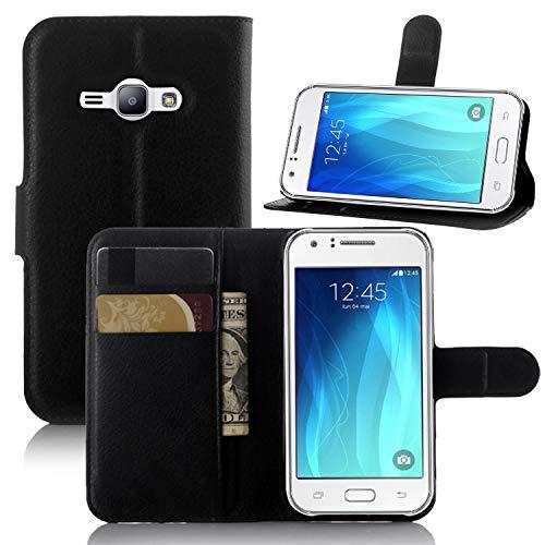 pinlu® Custodia in Pelle PU per Samsung Galaxy J1 Ace Struttura della Pelle Custodia a Portafoglio di Alta qualità in Pelle Stile Aziendale con Slot per Stand Funzionali Nero