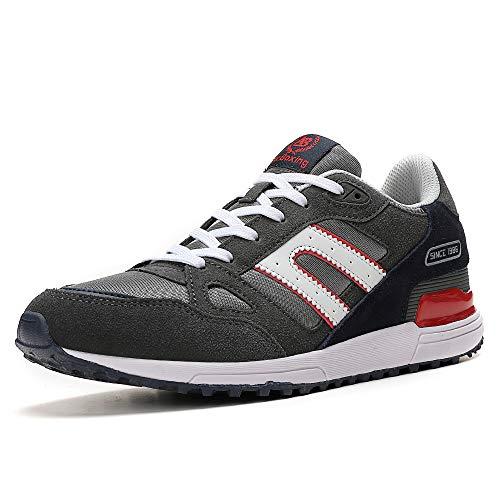AX BOXING Zapatillas Hombres Mujer Deporte Running Sneakers Zapatos para Correr Gimnasio Deportivas Padel Transpirables Casual (43 EU, A98333-Gris Oscuro)
