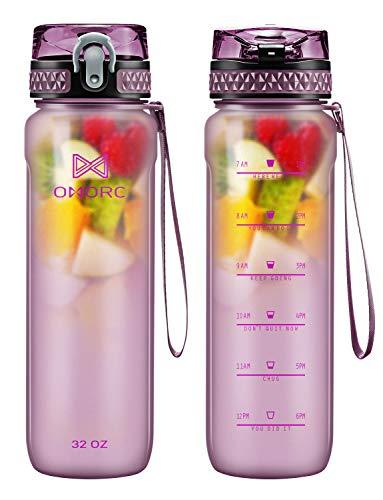 OMORC Sport Wasserflasche mit Infuser und Zeitmarkierung,500/900ml BPA-Frei Tritan Auslaufsicher Plastik Trinkflasche kohlensäure geeignet,Fitness Workout Getränkeflasche Für Schule,Outdoor,Fahrrad