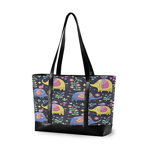 CPYang Laptop-Tasche, 39,6 cm (15,6 Zoll), Elefant, Vogel, Blume, Blätter, Leinen, Schultertasche, große Handtasche, für Arbeit, Business, Schule, Reisen