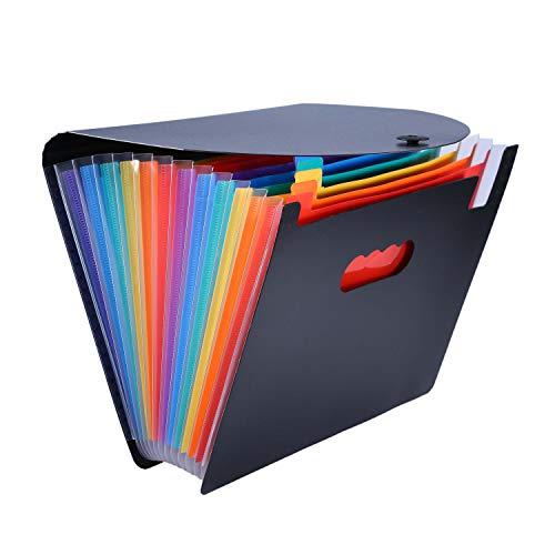 UBaymax A4 Fächermappe Dokumentenmappe, Erweiterbar Tragbar 12 fächer Ordnungsmappe Ordner Datei,Handheld File Akkordeon Ordner Sammelmappe für Schule,Büro,Home,PP (Regenbogen)