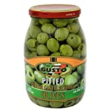Gusto Italian Pitted Castelvetrano Olives 18 Oz Drained Weight in Glass Jar 1.12 Pounds