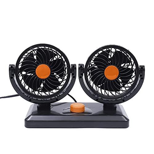 WEFH Ventiladores automáticos del Coche eléctrico del Tablero de Instrumentos de la ventilación de la Fan del Aire de la refrigeración del Coche de la Cabeza Dual, Anaranjado