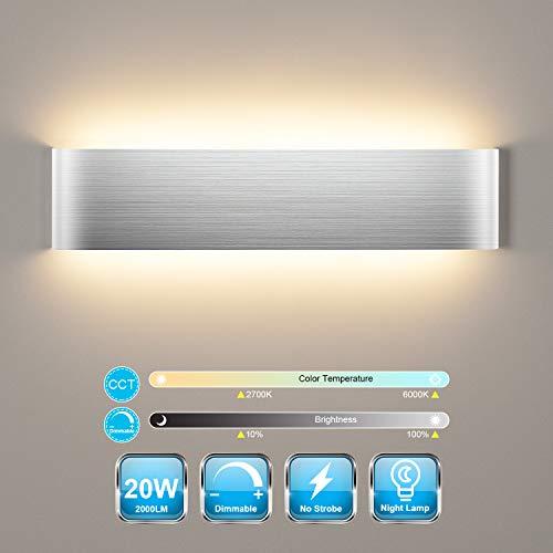 Smart Wandleuchte Dimmbar 20W, Wandlampe LED mit Fernbedienung & Bluetooth APP, 2700K - 6000K Warmweiß/Naturweiß/Kaltweiß Modernes Design 2000LM Helligkeit Einstellbar 40CM