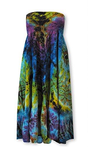 Batikmode lässig luftig Legerer Schnitt Shirt Top Rock Bandeaukleid Pluderhose (42491 - Kleid/Rock 2in1)