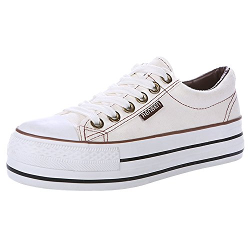 Renben Chicas Mujer Clásico Plataforma Lona Zapatillas Moda Cordón Espadrilla Zapatos Blanco 3196 EU35