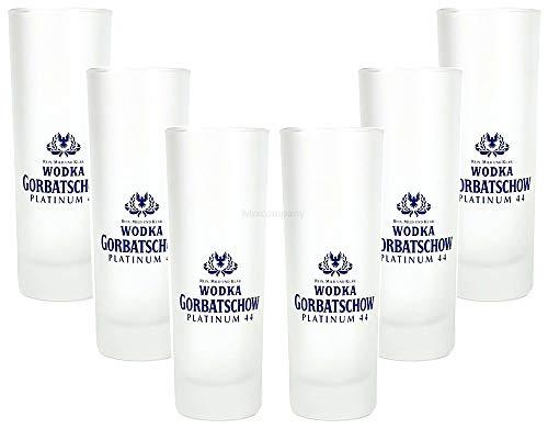 Wodka Gorbatschow Platinum 44 Longdrinkglas - 6er Longdrink Glas/Gläser Set - 6X Longdrinkgläser 1cl geeicht/Eichung/Eichstrich