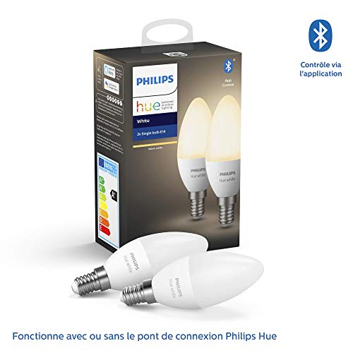 Philips Hue White E14 LED-lamp dubbelpak, dimbaar, warm wit licht, bestuurbaar via app, compatibel met Amazon Alexa (Echo, Echo Dot)