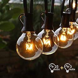 Lichterkette Außen Fochea Lichterkette Glühbirnen G40 9.5m 25er Globe Birnen Lichterkette Garten für Weihnachten Hochzeit Party Aussen Dekoration Warmweiß