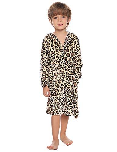 Aibrou Jungen/Mädchen Winter Fleece Leopard/Gepunkt Bademantel Flauschiger Morgenmantel Gelb 130 (empfolen: 8-9 Jahre Alt)