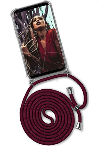 ONEFLOW Twist Hülle kompatibel mit Samsung Galaxy S9 Plus - Handykette, Handyhülle mit Band zum Umhängen, Hülle mit Kette abnehmbar, Weinrot