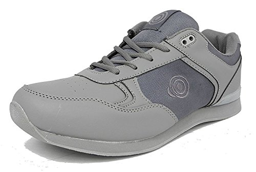 (9 UK Men, Grey PU/Textile) - DEK JACK Mens Lace Up Bowling Shoes/Trainers White/Grey