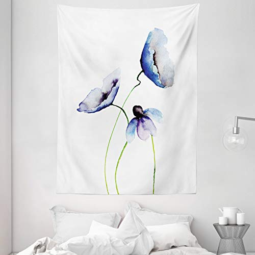Ambesonne Watercolor Flower Decor Collection, Poppies Wildflowers Blooms in Watercolor Painting, Bedroom Living Kids Girls Boys Room Dorm Accessories Wall Hanging Tapestry, Navy Blue White Green