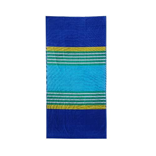 Toalla Playa o Piscina Rayas Azules, Turquesa y Verde Algodón Egipcio 100% (RATLLES Azul 90x170)