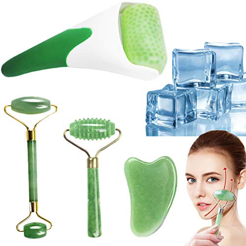 FIGHTART 4 in 1 ice roller jade roller gua sha facial eyes massage face rollet massager Puffiness...