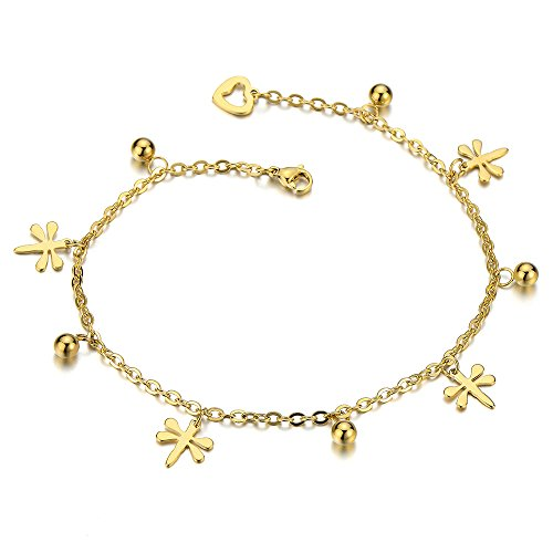 COOLSTEELANDBEYOND Acciaio Inossidabile Color Oro Cavigliera da Donna con Libellule Charms