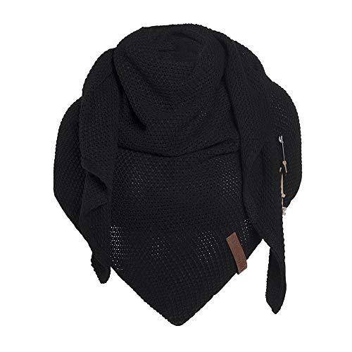 Knit Factory - Dreiecksschal Coco - Damen Strickschal mit Wolle - Hochwertige Qualität - XXL Schal - 190 x 85 cm - Schwarz