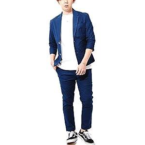 リ.エーピー [Re-AP] コットンリネン セットアップ ストレッチ素材 7分袖 テーラードジャケット アンクルパンツ メンズ (XL, ネイビー)